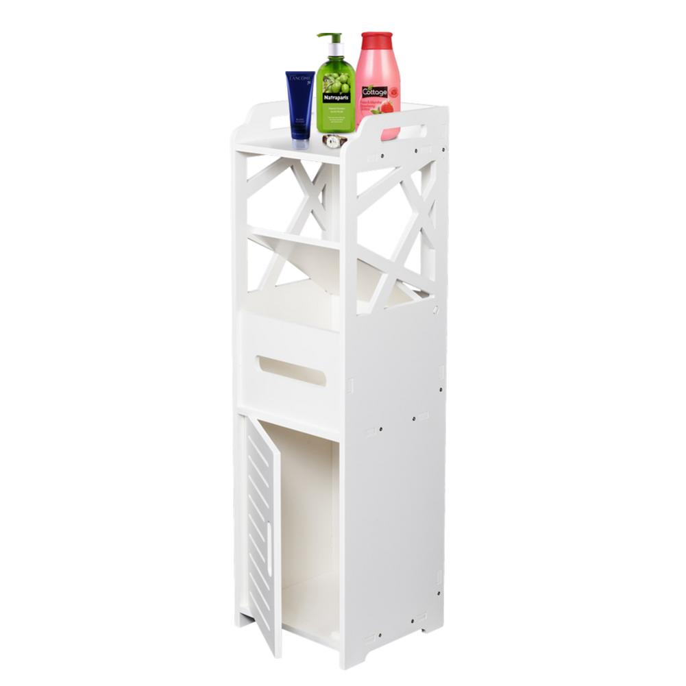 3 tier Bathroom Storage Cabinet With 2 Doors Dirt proof Waterproof Hold Heavy Objects 23x23x80CM White Bath Room Storage Rack|Storage Shelves & Racks| |  - title=