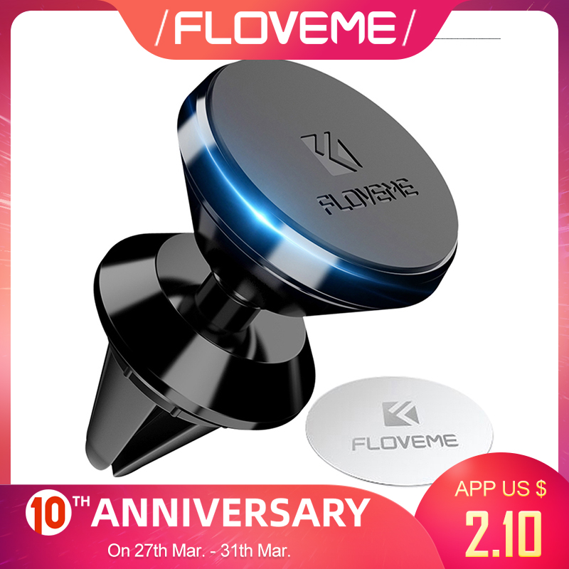 FLOVEME Universal Magnetic Car GPS Phone Holder 360 Rotation Magnet Air Vent Outlet Car-Styling Mount Stand For IPhone Samsung