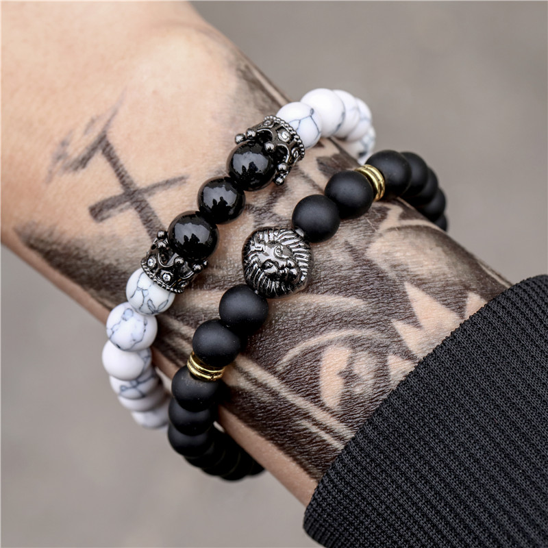 2pcs/set Fashion Lion & Crown & Black Frosted Stone and White Howlite Natural Stone Bead Bracelet For Men Jewelry Gift