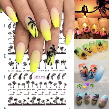 4 Pcs Hot Tropical Style Palm Tree Nail Stickers Coconut Tree Water Transfer Paper DIY Beauty 3D Nail Decor DIY Beauty Palm Patt image