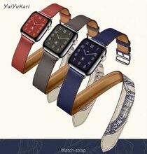 Pulseira de couro dupla turnê para apple watch band 4 (iwatch 5) 44mm 40mm apple watch 3 2 1 cinta 42mm 38mm pulseira macia acessórios