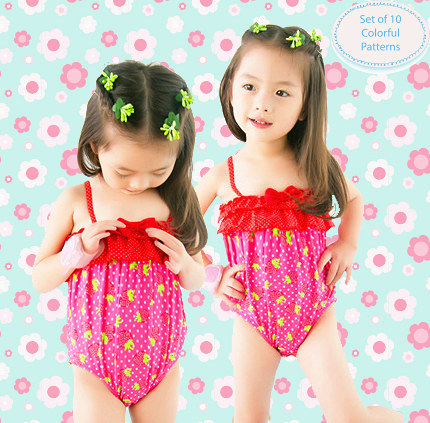 Special Offer KID'S Swimwear Small Children Baby Red Cute Strawberry Girl Spa Resort One-piece Swimwear