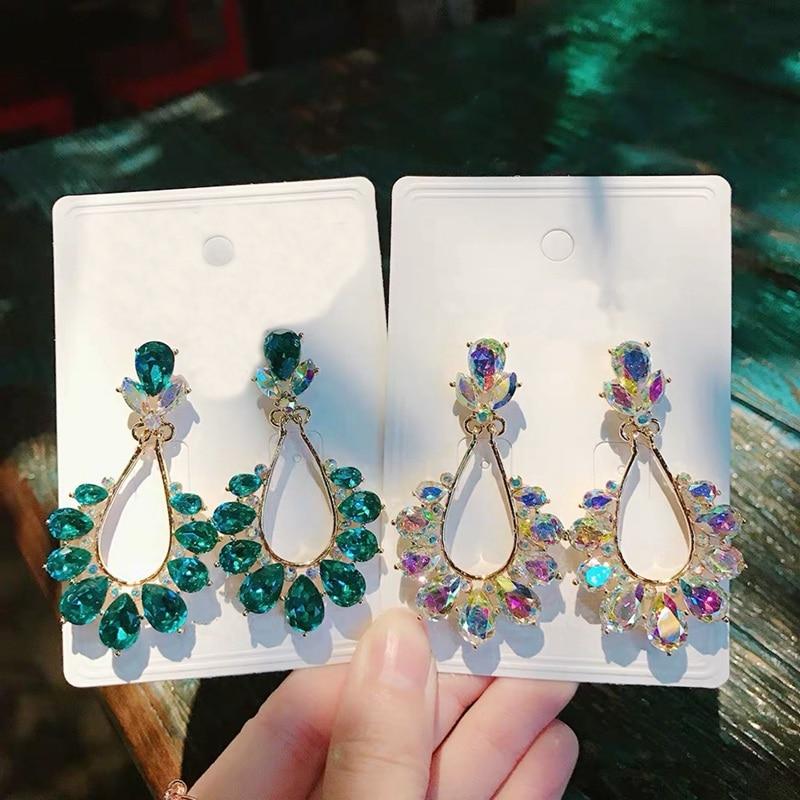 MENGJIQIAO New Fashion Big Oval Flower Crystal Waterdrop Temperament Dangle Earrings For Women Pendant Party Boucle D'oreilles