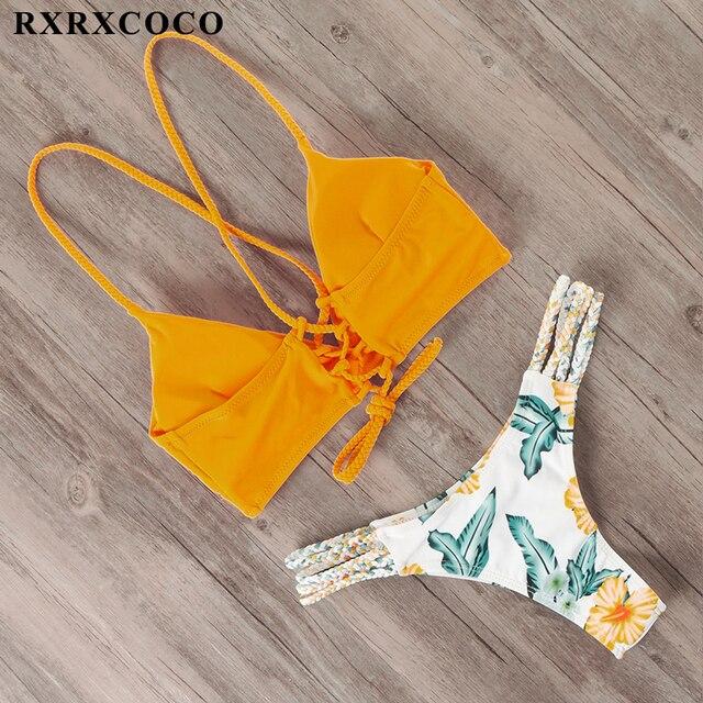 RXRXCOCO Bandage Swimwear Women Brazilian Bikini Swimsuit Female Thong Bikini Set Bathing Suit Push Up Flower biquini swimsuit 5