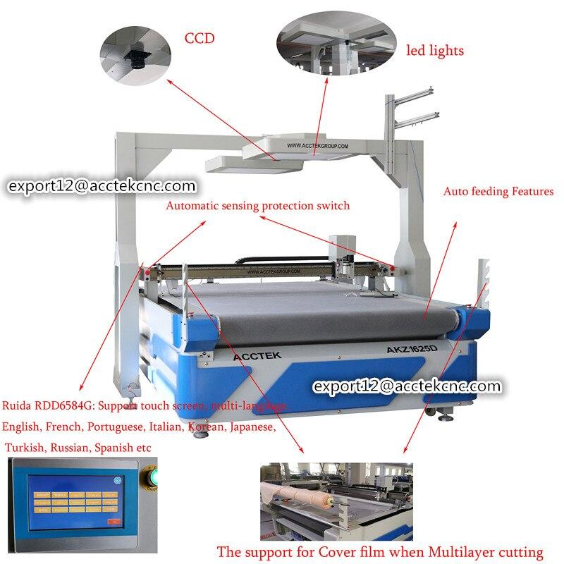 Cnc Oscillating Knife Cutting Machine AKZ1625 Fabric Cloth Paper Pattern Cutting Machine Price