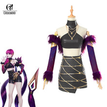 Rolecos jogo lol cosplay trajes grupo k/da evelynn saias com xale trajes grupo kda eyelynn para as mulheres cosplay trajes