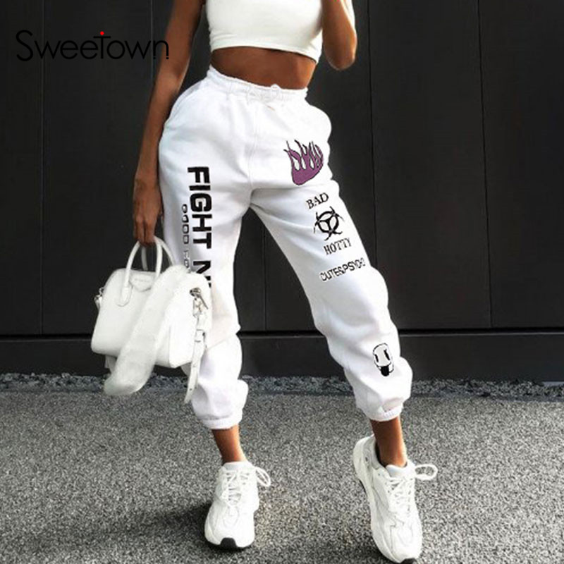 Sweetown Casual Fire Print Baggy Pants Women Hip Hop High Waisted Trousers Fashion Pockets Workout Womens Joggers Sweatpants
