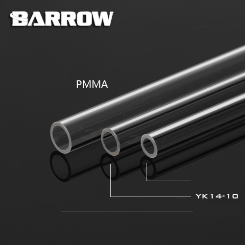 Barrow Hard Tube ID8mm/OD12mm - ID10mm/OD14mm -ID12mm/OD16mm Length 50cm Transparent Pipe Acrylic PETG Tube 2pcs/Lots PMMA/PETG