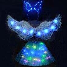 Cosplay Wedding Tutu-Skirt Wing Light Christmas-Costume Angel-Feather Party Halloween