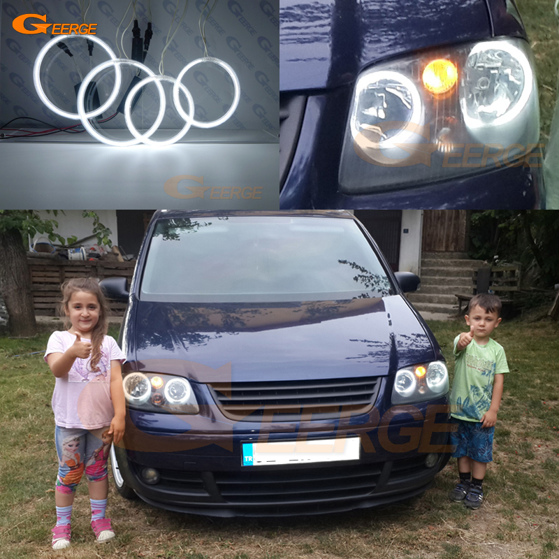 For Volkswagen VW Caddy 2004 2005 2006 2007 2008 2009 Excellent Ccfl Angel Eyes Kit Halo Rings Ultra Bright Illumination