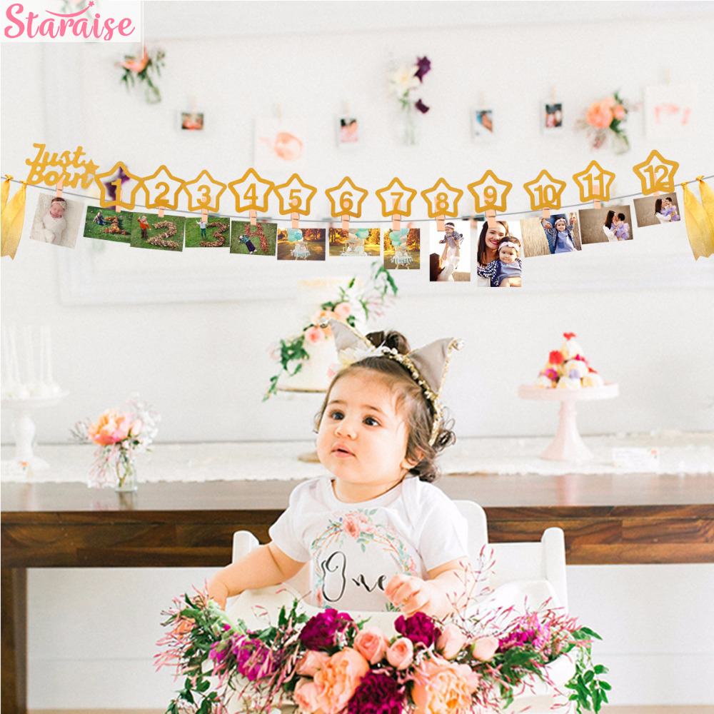 Staraise 12 Months Photo Frame Banner Baby Girl First Birthday Party Decorations Kids Favors Home Decor 1 One Year 1st Birthday Buy At The Price Of 2 93 In Aliexpress Com Imall Com