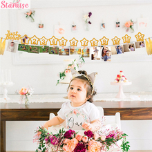 Staraise 12 Months Photo Frame Banner Baby Girl First Birthday Party Decorations Kids Favors Home Decor 1 One Year 1st Birthday 12 months photo frame banner first birthday decorations 1st baby boy girl my 1 one year party supplies gold pink blue