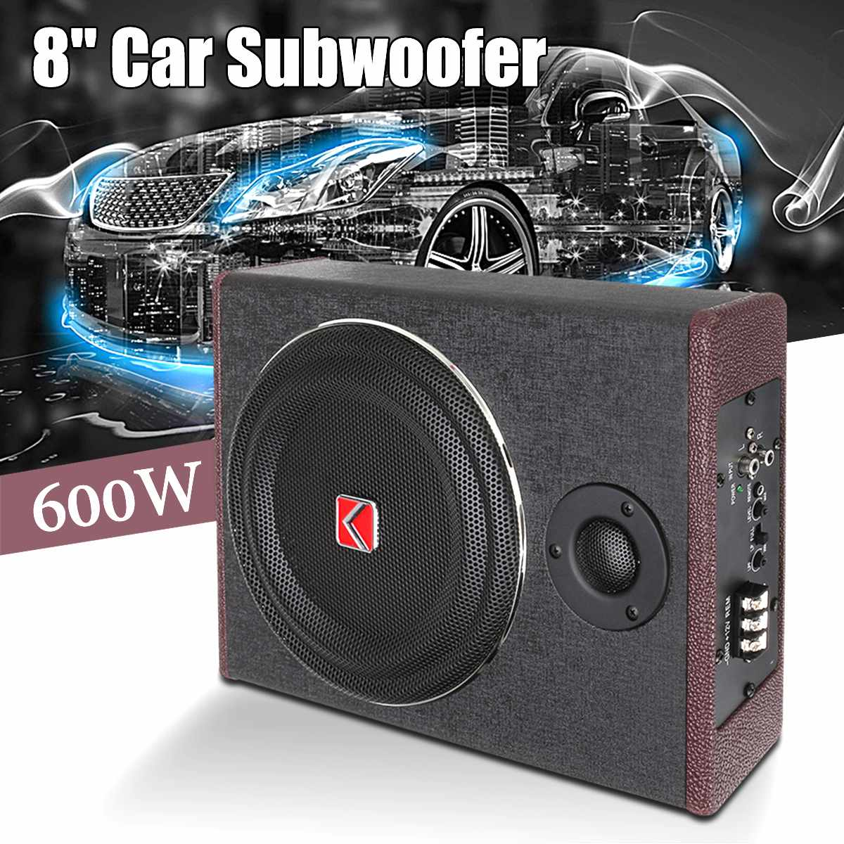 8 Inch 600W Car Speaker Active Subwoofer Car Under Seat Slim Sub Woofer AMP Super Bass Car Amplifier Subwoofers