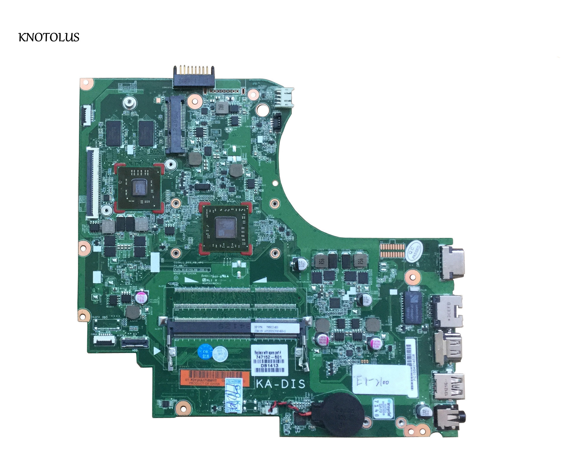 High Quality 747152-001 747152-501 747152-601 FOR HP 15-D 255 G2 Motherboard P/N 01019BG00-491-G E1-2100 8570M 1GB 100% Tested