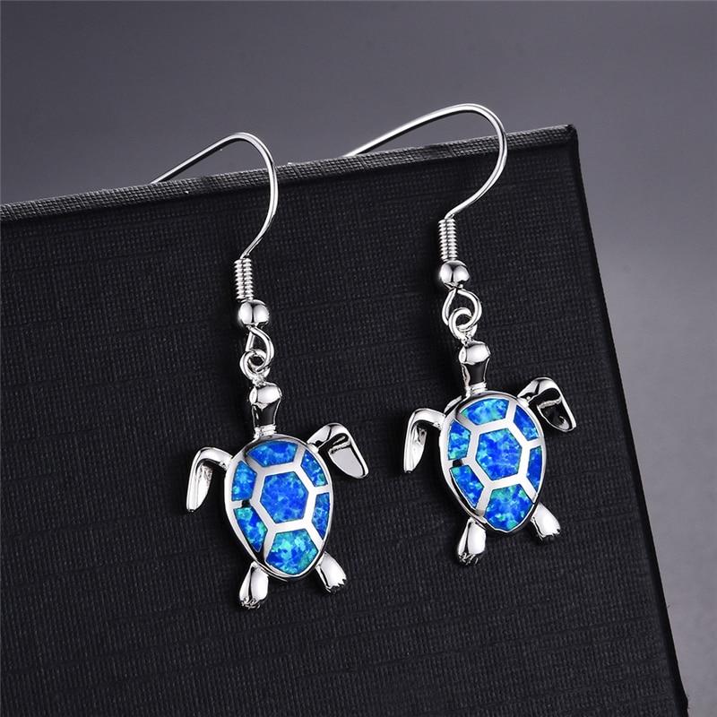 Moda feminina brincos 2020 moda azul imitação opala gota brincos bonito tartaruga animal brincos feminino jóias de casamento presente