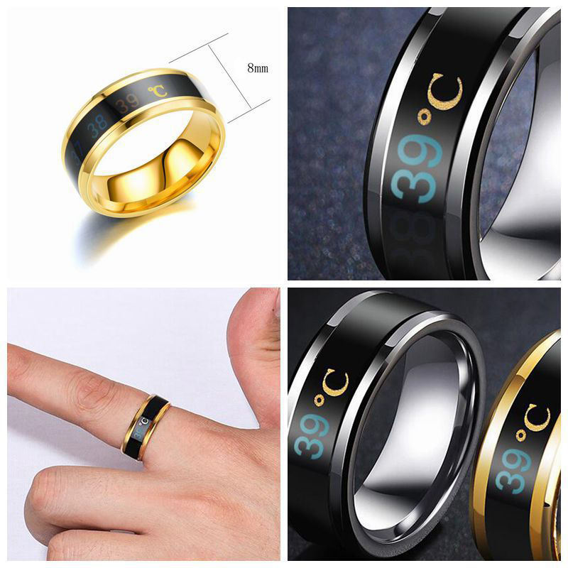 Smart Sensor Body Temperature Ring Stainless Steel Fashion Display Real time Temperature Test Finger Rings