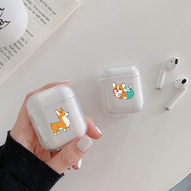 Hard Clear Headphone Case For Apple airpods Case Luxury Pets Corgi Dog Transparent Air Pods Case For Airpods 2 Protective Cover in Earphone Accessories from Consumer Electronics