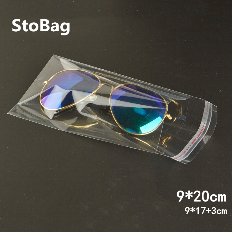 StoBag 500pcs 9*20cm Clear Self Adhesive Seal Slender Bag Cellophane Bags Gift Jewelry Package Self Sealing Poly OPP Plastic Bag