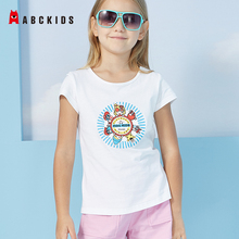 ABCkids New Summer Cartoon Print Girls T-shirts Kids Short Sleeved Shirts Solid Cotton Girls Tops Children Round Neck Tees blue round neck random print t shirts