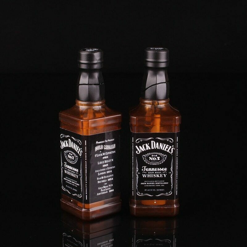 Novelty Lighter Jack-Daniel Wiskey Bottle Windproof And Refillable Butane Lighter For Studio Background