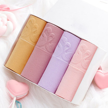 4PCS Panties Women High Quality Solid High-Rise Panty Cotton Briefs Pretty Underwear Large Size