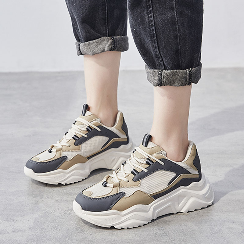 Women Casual Shoes Soft Rubber Thick Sole Fashion Sneaker Breathable Mesh Shoe Woman Chunky Platform Sneakers 2020 Spring Summer
