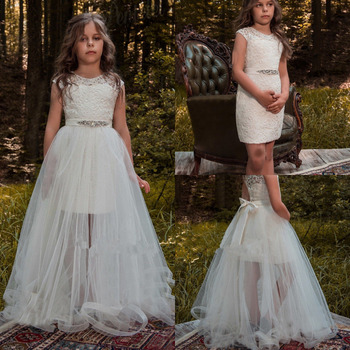 Kids Two Pieces Flower Girl Dresses For Weddings Overskirt Gown First Communion Dresses Vestidos De Comunion