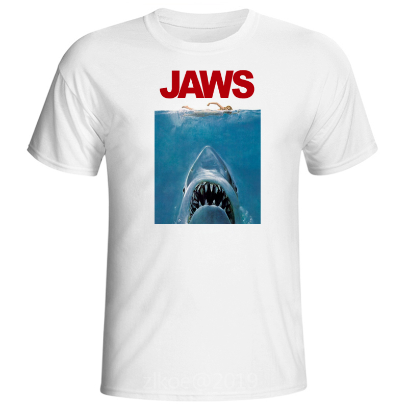 2019 Summer vintage movie jaws Design T Shirt Men's High Quality shark print plus size men clohing summer white tops hip hop image