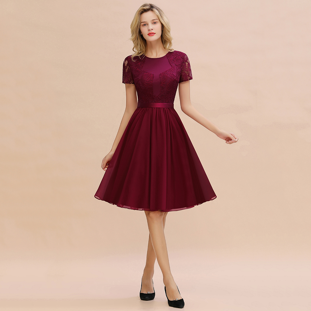 Burgundy Lace Short Bridesmaid Dresses 2019 A Line Wedding Party Guest Gown Scoop Neck Sleeved Vestido Madrinha