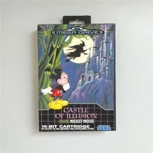 Château de lillusion mettant en vedette Mickey EUR couverture avec boîte de détail 16 bits MD carte de jeu pour Sega Megadrive Genesis Console de jeu vidéo