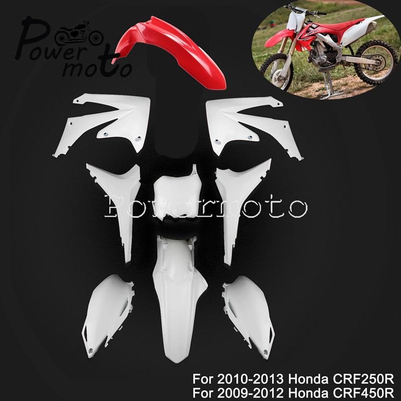 Motocross MX Dirt Bike Enduro Kit de carénage complet ensemble de carrosserie en plastique pour Honda CRF250R CRF450R garde-boue garde-boue latéral