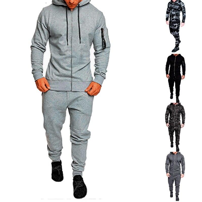 Oeak Autumn Winter Camouflage Men Suits Patchwork Sportswear Hooded Tracksuit Men Two Pieces Set Drawstring Sport Sets