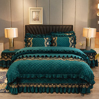 Europe Lace Crystal Velvet 4pcs Bedding Set Duvet Cover Bedspread Thick Soft Qulited Cotton Luxury Double Queen With Pillowcases