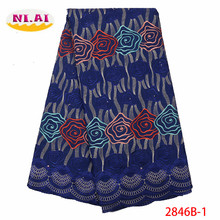 NIAI Swiss Voile Cotton Lace Fabric 2019 African In Switzerland High Quality Dry For Party XY2846B-1