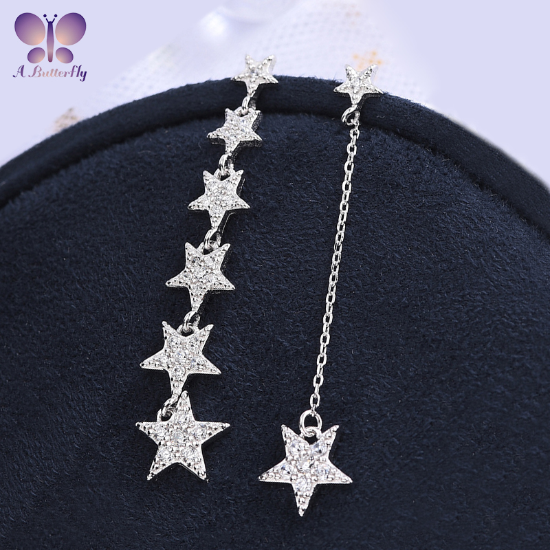 A Butterfly 925 Silver Simulation Diamond Star Earrings Five-pointed Star Tassel Asymmetric Earrings Party Wedding Jewelry