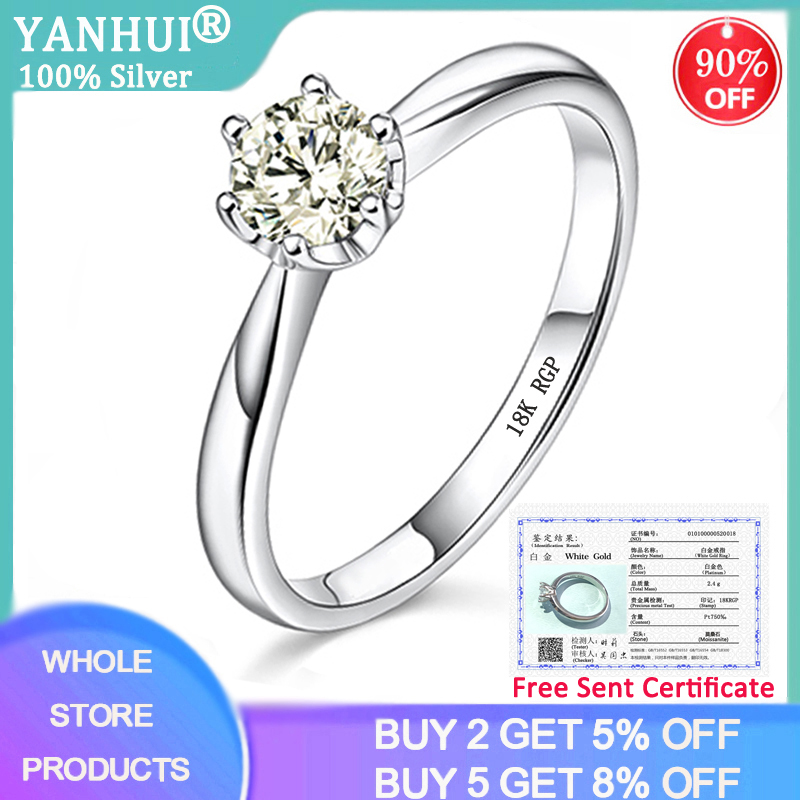 Have Certificate 18K White Gold Color Solid 925 Silver Moissanite Ring 1 Carat Lab Diamond Wedding Jewelry Woman Girlfriend Gift