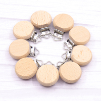 5pc Wooden Baby Pacifier Holder Metal clip beech Baby Pacifier clips chain accessories BPA free wooden teether Chilren Goods Toy