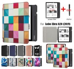 GLIGLE auto-sleep/wake Leather case cover for KOBO Libra H2O protect shell E-book case for KOBO N873+stylus+screen film