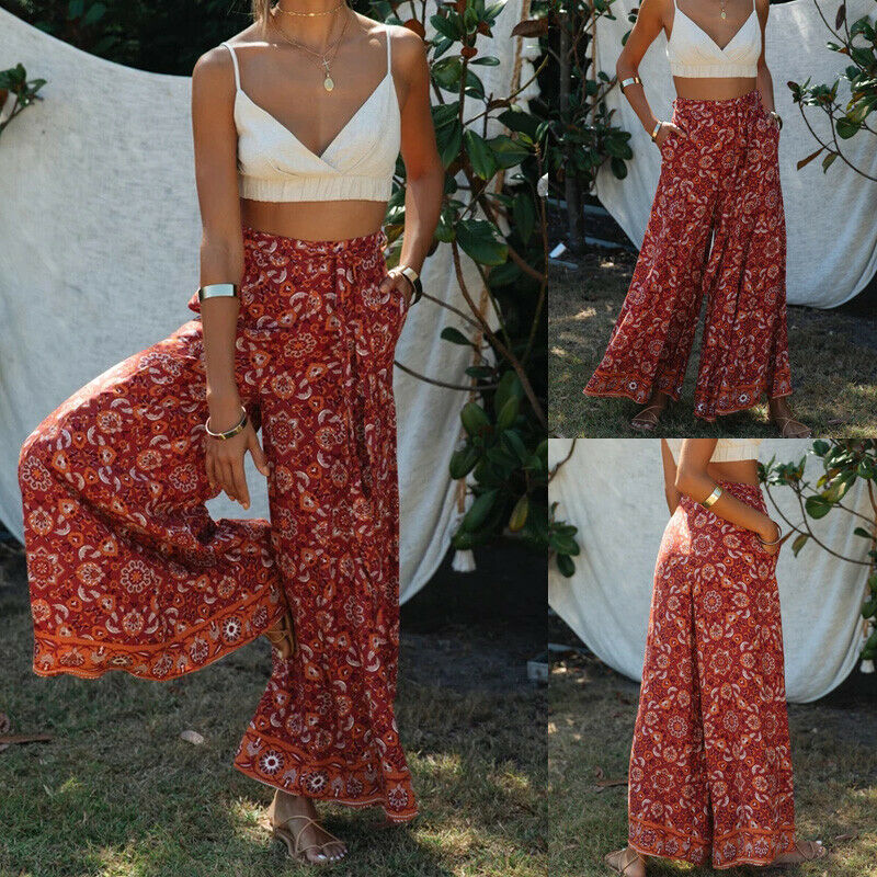 Women Floral Bohemian High Waist Wide Leg Long Pants Flared Bell Bottom Loose Pants Full Pants
