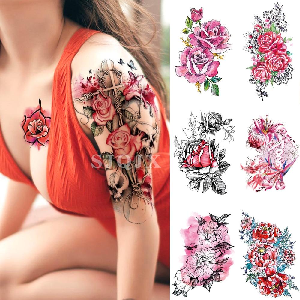 Black Flower Roses Fake Tattoo Sticker Women Watercolor Temporary Lotus Girls Sexy Body Art Arm Tatoo Transfer Waist Tattoos