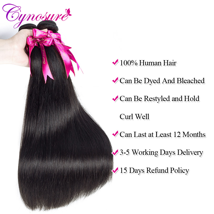 H8d00056f5d7342648f40d52ec6c58a262 Cynosure Brazilian Straight Hair Weave 3 Bundles with Closure Natural Black Remy Human Hair Bundles with Closure
