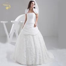 2016 Люкс vestido де noiva халат Mariage свадебные свадебные a линия Тафта кружева цветок с поезд свадебное куртка платья уя 9511