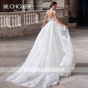 Image 2 - BECHOYER Vestido de novia con tren desmontable K149, traje de novia con Apliques de encaje 3D, flores, ilusión de sirena