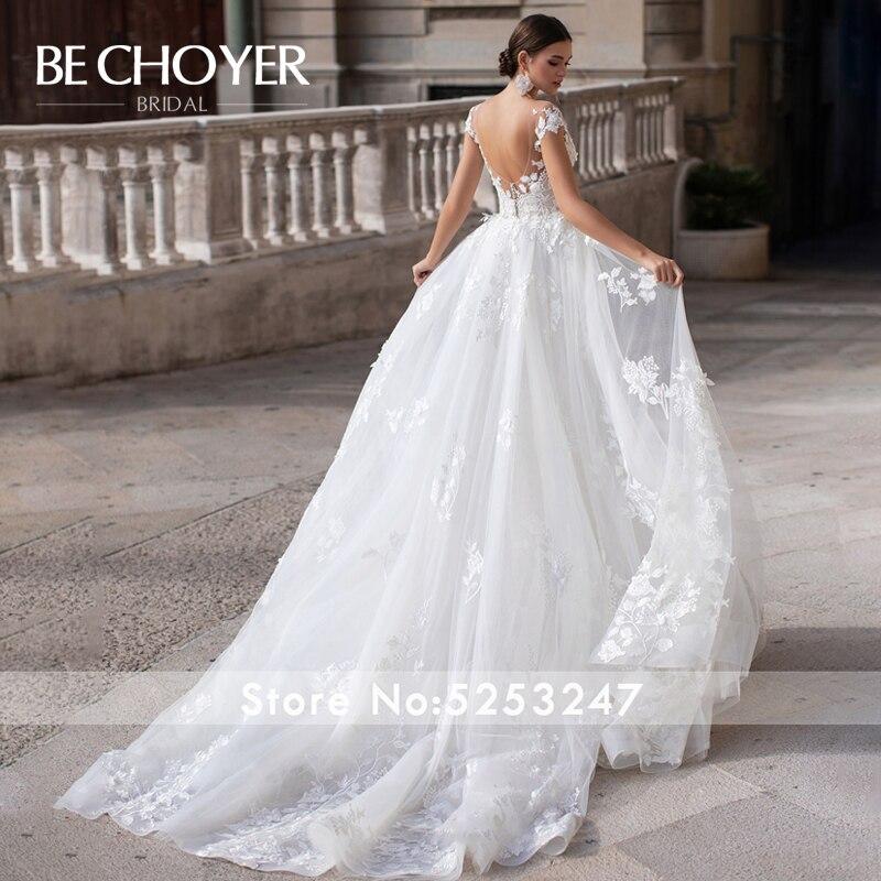 Image 2 - Fashion Detachable Train Wedding Dress BECHOYER K149 Appliques Lace 3D Flowers Mermaid Illusion Bride Gown Vestido de NoivaWedding Dresses   -