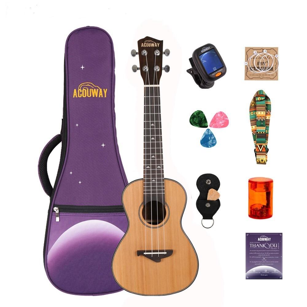 Acouway Ukulele 21 24 26 Inch Ukulele Soprano Concert Tenor Ukulele Solid Spruce Top Uku Ukelele Hawaii GuitarMusical Instrument