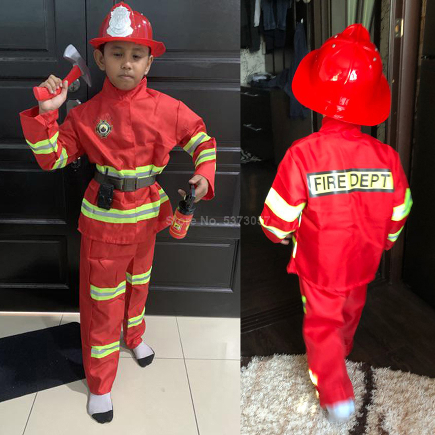 Halloween Costumes For Boys Carnival Kids Girls Fireman Firghter Sam Cosplay Uniform Army Suit School Student Performance