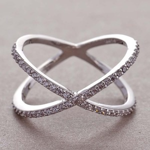 Newest Design X shape Cross Ring Female Fashion Micro Paved CZ Crystal Rings Infinity Sign Women Silver Rings for Party Z5F300(China)