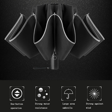 Automatic-Umbrella Reflective-Strips Folding Reverse Waterproof with 3