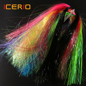ICERIO 2packs Synthetic Ice Wing Fiber Flat Flash Crystal Mirage Flashabou Tinsel Streamers Nymphs Midges Fly Tying Materials