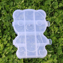 10 grid bear PP plastic storage box Transparent cosmetics Creative debris finishing